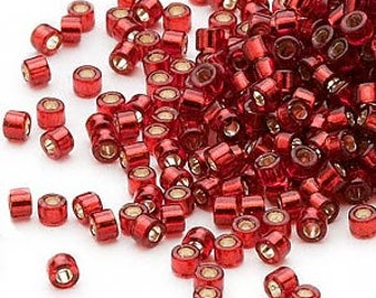 Delica, Silver Lined Dark Red , 11/0 Miyuki Cylinder Seed Beads 6.75 grams  (a-11A)