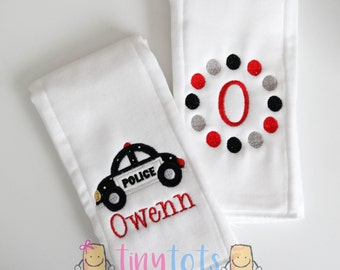Police Car Embroidered Burp Cloth Set - Boy Personalized Burp Cloth Set - Newborn - Baby Boy - Burp Cloth
