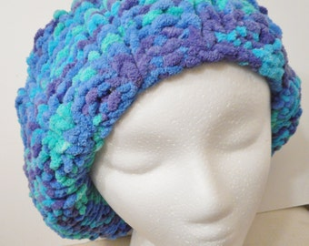 Hand Knit Slouch Hat Varigated Blue, Green.