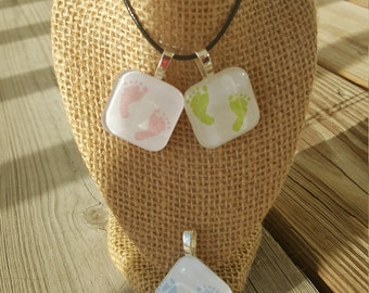 Glass Tile Necklace - Baby Shower