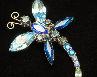 Rhinestone Dragonfly Pin Vintage