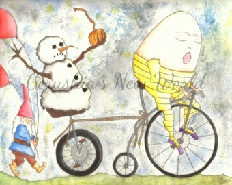 Bringing In The Inevitable - Salted Watercolor, Print, Humpty Dumpty