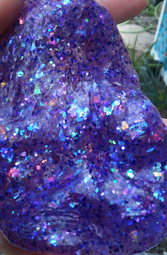 Purple Glitter Slime Opal Holographic Iridescent Unicorn Clear slime Metallic Sparkle galaxy Gem Gemstone sparkly party favor birthday gift
