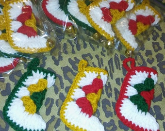 Christmas stocking ornaments crocheted