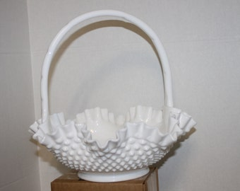 Vintage White Milk Glass Large Basket
