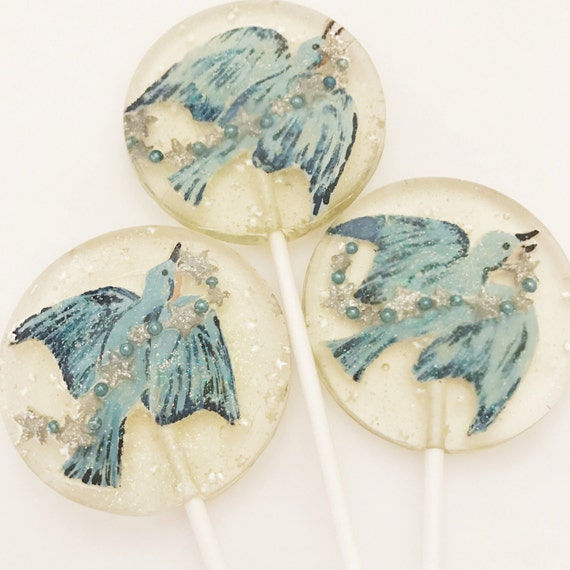 3 Twinkling Holiday Painted  Bluebirds Lollipops