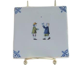 Old Dutch Decorative Tile, Makkum Delft Bleu Trivet, Dutch Boys Playing Ball, Made in Holland, Decorative Tile
