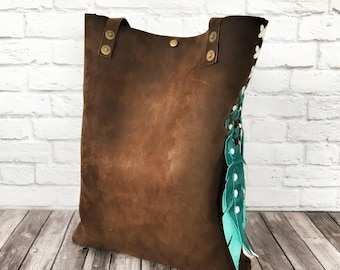 Distressed Chocolate Brown Leather Tote Bag / Leather Tote Bag / Leather Tote / Market Tote / Rustic Leather Tote / Simple Tote Bag