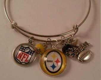 Football Steelers Handmade Bangel Bracelet 18mm Charm w/ Football Charm Charm Beads