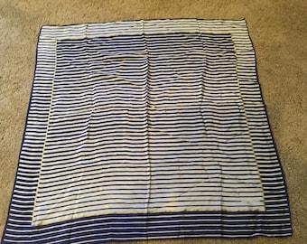 Vintage Oscar de la renta hand rolled silk scarf in navy blue and white stripes