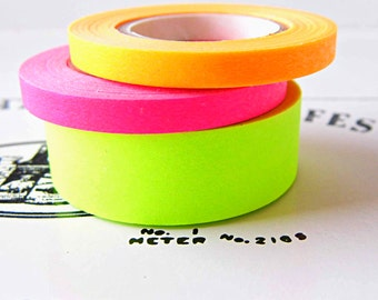 Neon washi tapes, 3 neon decorative tapes, Washi tape, rice paper
