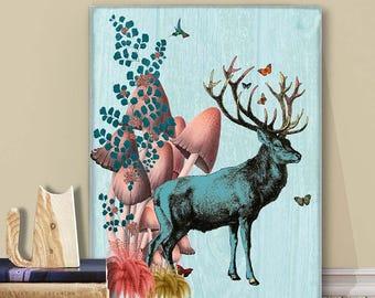 Decorative art Big canvas art wall decor - Turquoise Deer - deer art decor Deer print art Deer canvas art Deer decor Woodland deer poster