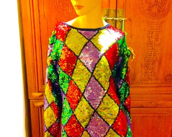VIntage Voue Cache Diamond Sequined Cotton Ramie Hollywood Regency Waldorf Red Carpet Bohemian Chic Sweater L