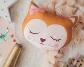 Cat face mini cushion, kittie pillow, nursery decor, sleepy cat