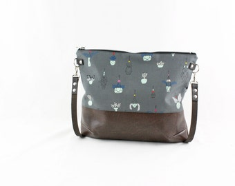 Succulenten Crossdiv bag with leather handles