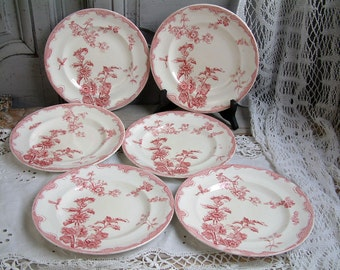Set of 6 Antique french ironstone red transferware plates. French transferware. Jeanne d'Arc living. Gustavian home. french shabby chic