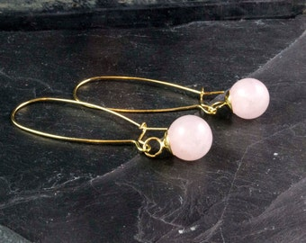 gold plated stone earrings - soft pink