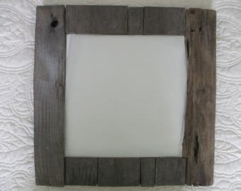 "Recycled natural weathered old wood driftwood look 16 "" square mirror"