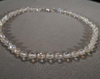 Vintage fancy Multi Glass big bold heavy bead necklace Jewelry Art Deco Style   KW12