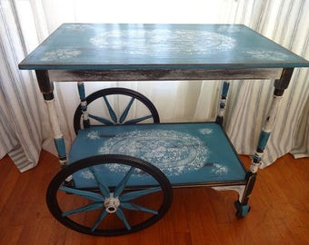 Shabby Chid Ebossed Style Serving Cart Side Table Teal White Rubber Weels Vintage