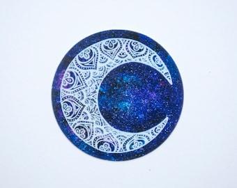 Moon Mandala Art Sticker, Galaxy Moon Circle Laptop Sticker, Crescent Moon Car Sticker, Mandala Art, Original Art Sticker, Bumper Sticker