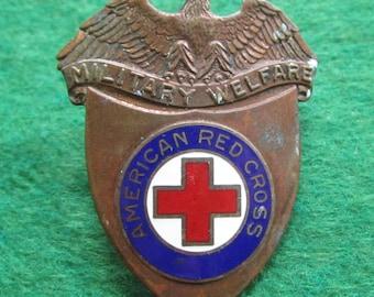 1940's World War II Era American Red Cross Military Welfare Hat Badge - Free Shipping