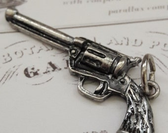 Antique Silver Gun Pendant Charm Jewelry Supplies