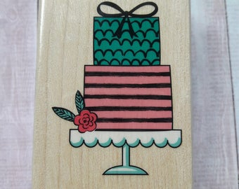 Gift Wrapped Birthday Cake Wood Mounted Rubber Stamp Scrapbooking & Paper Craft Supplies