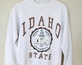 vintage IDAHO state  university oversized heather gray sweatshirt