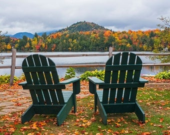 Adirondack Chairs on Mirror Lake, Lake Placid, NY, New York, Upstate, Autumn, Fall, Folige, Mountains, Mirror Lake, Adirondacks, Chairs