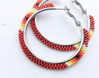 Red Fire Beaded Hoop Earrings - Red Beaded Hoop Earrings - Red Beaded Earrings - Red Hoop Earrings - Jewelry Gift for Her