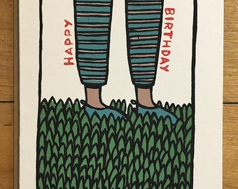 Happy Birthday Greeting Card - Hand Pulled Screen Print