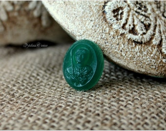 Hand-carved chrysoprases cameo * St. Demetrius *, Great wedding gift!