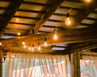 32 Feet 20 E17 Bulbs Vintage String Light 220V with Dimmer Brown Wire Indoor Outdoor Warm Romantic Patio Globe String Lights