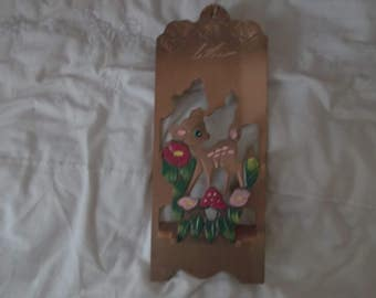 wooden letter holder with a deer