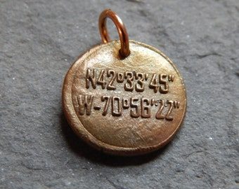 Danvers Latitude and Longitude Wax Seal Charm, Danvers River, Salem Village, Salem witch trials, Rebecca Nurse, witchcraft, Oniontown