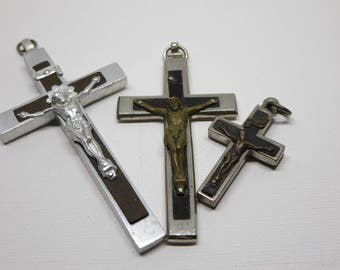 Antique Crosses, Reliquary, Religious Set, Wood and Metal, Crucifix, Pectoral Cross, Catholic, Religious holy Pendants, Gift