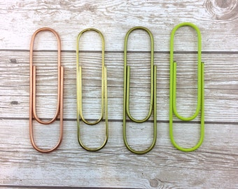 """4"""" Large Paperclip // Shiny Gold, Matte Gold, Rose Gold, Neon Green // #01"""