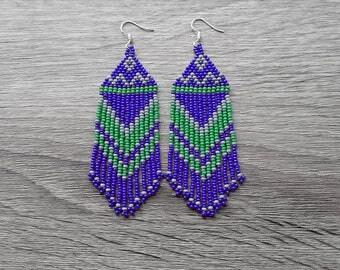 Green Blue Earrings.  Native American Earrings Inspired. Gift For Her. Beaded Earrings. Beadwork