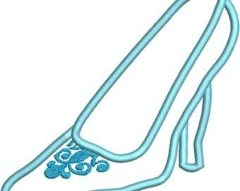 Glass Slipper Applique, Machine Embroidery design , Cinderella inspired 255