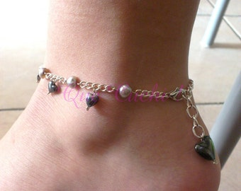 Chain Ankle with Freshwater Pearls and Hematite Hearts