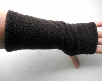 Fleece BOUCLE Fingerless Gloves, ONE PAIR, Black Fleece Gauntlets, open thumb, 9 inch long, warm winter gloves, arm warmers, size Med