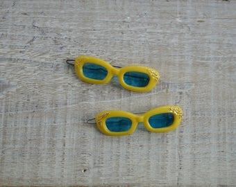 Vintage Sunglasses Barrettes ~ Yellow Blue & Gold Summer Hair Clip Accessories ~ Beach Sun Cat Eye Glasses Barrette (A1)