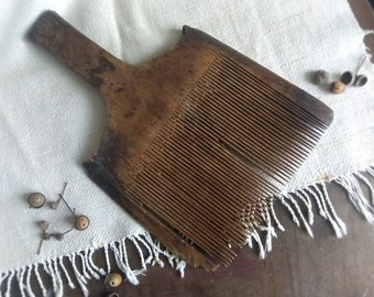 Antique wooden wool comb Rustic home decor Antique wall hangind Wool carder Old wooden tool Ethnic fibre arts tool Primitives gift idea
