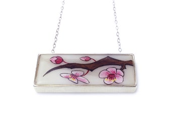 Cherry Blossom Horizontal Bar Necklace set in Sterling Silver