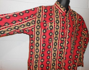 Western Signature by Eds West Long Sleeve Western Aztec Print Shirt L