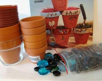 McCall's People Pots craft pattern book 15035, unpainted terra-cotta flower pots, glass beads, flower pot craft, teacher class pack