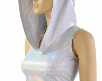 Holographic Flashbulb Liquidy Rainbow Hologram Crop Hoodie w/Flashbulb Hood Liner Lycra Spandex Rave Festival 151289