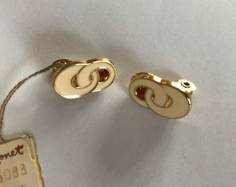 Monet Earrings Gold Tone Ivory Beige Enamel New Dead stock with Tags