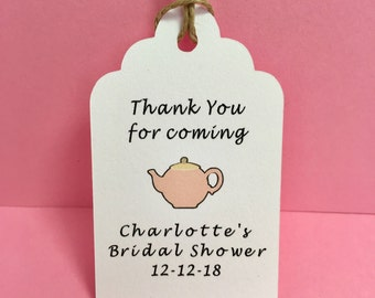 Tea party bridal shower tags, Mad Hatter tea party, Personalized, Thank you for coming, Tea party baby shower, Tea favor, Tea pot, Tea party